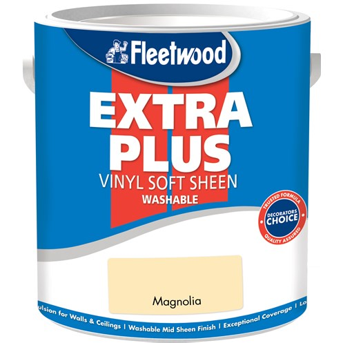 Fleetwood Extra Plus Vinyl Soft Sheen Magnolia Paint - 5 Litre