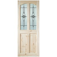 InDoors  Clifton 4 Panel Interior Acid Etched Glazed Pine Door - Unfinished