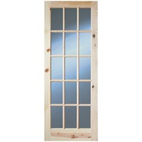 InDoors  Glendale 15 Panel Interior Clear Glass Pine Door - Unfinished