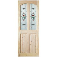 InDoors  Clifton 4 Panel Interior Rose Jewel Glazed Pine Door - Unfinished