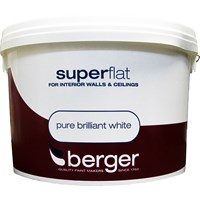 Berger  Superflat Emulsion Brilliant White Paint - 10 Litre